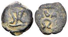 Ancient Coins - Judaea, Herodians. Herod I the Great. 40-4 BC. AE Prutah (1.35 gm, 15mm). Jerusalem mint. Hendin 1182