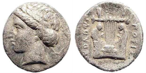 Ancient Coins - Ionia, Kolophon. Circa 330-285 BC. AR Diobol (1.00 gm, 11mm). Cf. SNG Kayan 376-385