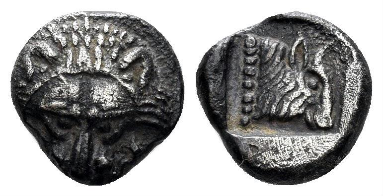 Ancient Coins - Karia, Uncertain. 5th century BC. AR Diobol (0.96 gm, 9mm). Numismatik Naumann Auc. 52, lot 190. Second known