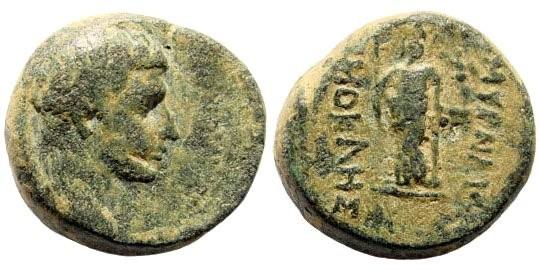 Ancient Coins - Ionia, Smyrna. Augustus, 27 BC-14 AD. AE 18mm (7.04 gm). Hermokles, circa 15 BC. RPC I, 2463
