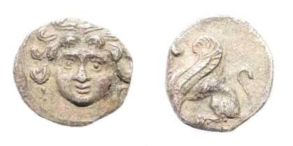 Ancient Coins - Cilicia. Uncertain mint. 4th century BC. AR obol (0.73 gm, 10mm). SNG Paris 479. Traité II, 1519. Rare