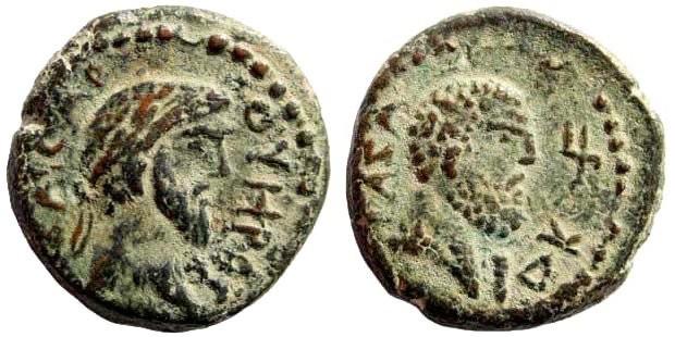 Ancient Coins - Judaea, Gaza. Lucius Verus, 161-169 AD. AE 17mm (4.09 gm). Dated CY 224, 163/4 AD. Yashin, Ascalon to Raphia, 376 (same dies)