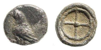 Ancient Coins - Troas, Abydos (?). 5th century BC. AR Hemiobol (0.28 gm, 6.5mm). Unpublished & extremely rare
