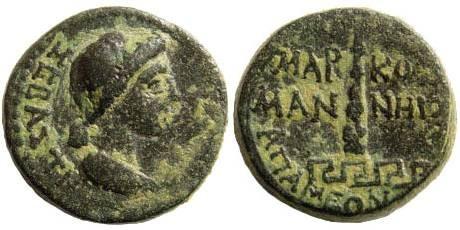 Ancient Coins - Phrygia, Apamea. Livia, mother of Tiberius, 14-37 AD. AE 14 (3.95 gm). RPC I, 3132; SNG Copenhagen 207; BMC 141
