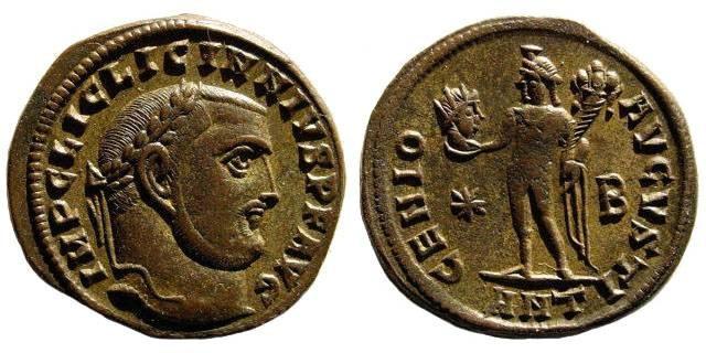 Ancient Coins - Licinius I. 308-324 AD. AE Follis (22mm, 4.36 gm, 12h). Antioch mint, 2nd officina. Struck 312 AD. RIC VI 164a