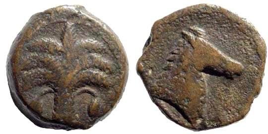 Ancient Coins - Carthage. Circa 350-320 BC. AE Unit (7.19 gm, 18mm). SNG Copenhagen 102
