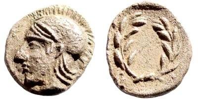 Ancient Coins - Aiolis, Elaia. Circa 450-400 BC. AR Diobol (1.24 gm, 12mm). SNG Copenhagen 166