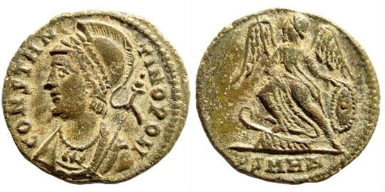 Ancient Coins - Constantinopolis. 336-337 AD. AE 4 (2.33 gm, 18mm). Heraclea, Officina 4. LRBC 908