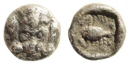 Ancient Coins - Caria, Mylasa (?). Circa 450-400 BC. AR Obol (0.46 gm, 8mm). SNG Kayhan 934; SNG Copenhagen 379 (Uncertain Coins of Asia Minor); SNG von Aulock 7803