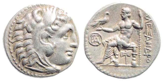 Ancient Coins - Macedonian Kingdom. Alexander III 'the Great', 336-323 BC. AR Drachm (4.25 gm, 18mm). Miletos mint. Struck circa 295-275 BC. Price 2148