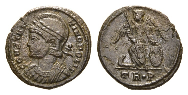 Ancient Coins - Constantinopolis, 330-335 AD. AE Follis (2.55 gm, 18mm). Trier mint. Officina 1. LRBC 66