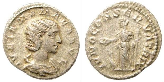 Ancient Coins - Severus Alexander. For Julia Mamaea. 222-235 AD. AR Denarius (2.68 gm, 19mm). Rome mint, 222. RIC 343; Cohen 35; BMC 43