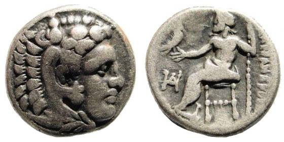 Ancient Coins - Macedonian Kings. Alexander III the Great. 336-323 BC. AR Drachm (4.12 gm, 16mm). Milete mint. Struck circa 325-323 BC. Price 2090