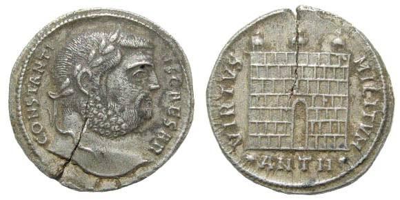 Ancient Coins - Constantius I Chlorus as Caesar. 293 - 305 AD. AR Argenteus (3.14 gm, 20mm). Antiochia mint, 297 AD. RIC 43a