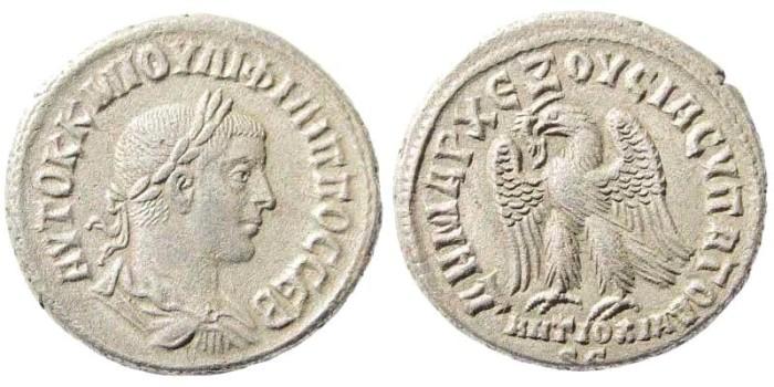 Ancient Coins - Syria, Seleucis and Pieria. Antioch. Philip II. 247-249 AD. AR Tetradrachm (11.34 gm, 26mm). Struck 249 AD. Prieur 473