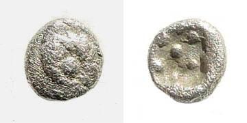 Ancient Coins - Ionia, Miletus. Circa 500 BC. AR 1/96 Stater/ Hemitetartemorion (0.13 gm, 5mm). SNG Tübingen 3018. (Miletus)