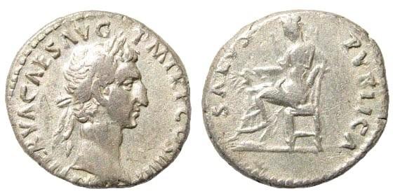 Ancient Coins - Nerva. 96-98 AD. AR Denarius (3.12 gm, 17mm). Struck 96 AD. RIC II 9; BMCRE 19; RSC 132