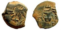 Ancient Coins - Judaea. First Jewish War. 66-70 AD. AE Prutah (2.52 gm, 19mm). Dated year 2 (67/68 AD). Hendin 661