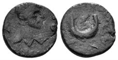 Ancient Coins - Mesopotamia. Carrhae. Elagabalus, 218-222. AE 14mm (2.10 gm). BMC 10-11 var.