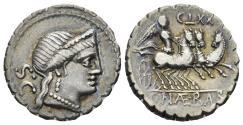 Ancient Coins - C. Naevius Balbus. 79 BC. AR Serrate Denarius (3.70 gm, 18mm). Rome mint. Crawford 382/1b