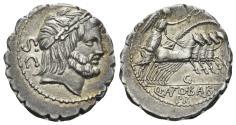 Ancient Coins - Q. Antonius Balbus. 83-82 BC. AR Serrate Denarius (4.04 gm, 19mm). Rome mint. Crawford 364/1d