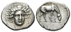 Ancient Coins - Thessaly, Larissa. Circa 400-370 BC. AR Drachm (5.97 gm, 20.5mm). Head Type 23, dies O106/R1