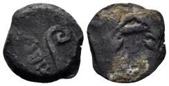 Ancient Coins - Judaea, Procurators. Pontius Pilate, 26-36 AD. AE Prutah (1.97 gm, 16mm). Jerusalem mint. Dated RY 18 of Tiberius (31 AD). Hendin 650