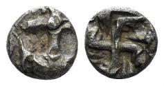 Ancient Coins - Thrace, Apollonia Pontika. 5th-4th centuries BC. AR Hemiobol (0.40 gm, 6mm). SNG Bulgaria 80-90