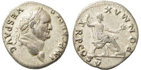 Ancient Coins - Vespasian, 69-79 AD. AR Denarius (3.28 gm, 19mm). 74 AD. RIC 76; Cohen 363