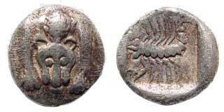 Ancient Coins - Caria, Mylasa(?). Circa 450-400 BC. AR Obol (0.51 gm). SNG Kayhan 934; SNG Copenhagen 379