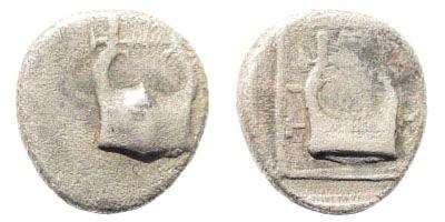 Ancient Coins - Lesbos, Mytilene. Circa 400-350 BC. AR (0.66 gm, 9mm). BMC 16 (pl. XXXVII, 17). Very rare