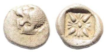 Ancient Coins - Ionia, Miletos, Late 6th- early 4th century BC, 1/12th Stater (1.07 gm, 9mm). BMC 14.185,14