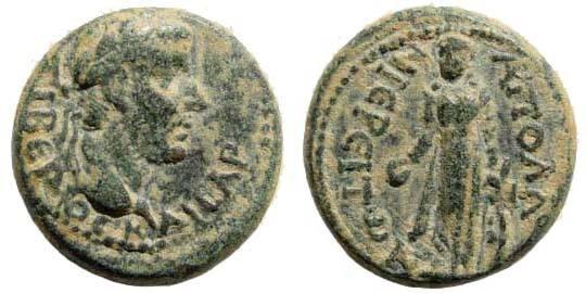 Ancient Coins - Lydia, Apollonoshieron. Tiberius. 14-37 AD. AE 18mm (4.72 gm). RPC I, 3043/3. SNG Copenhagen 31
