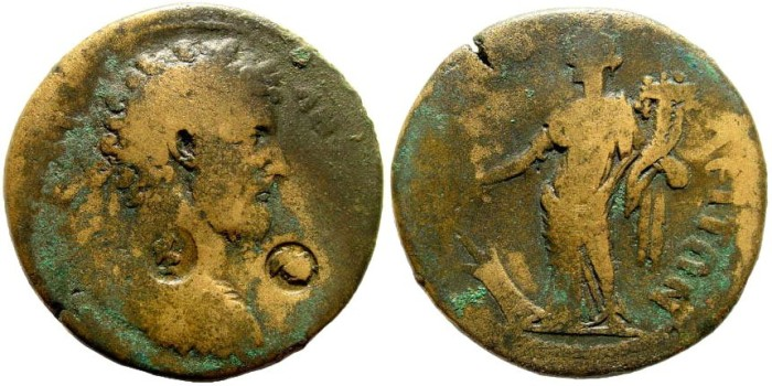 Ancient Coins - Lydia, Tripolis. Marcus Aurelius, 161-180 AD. AE 34mm (19.91 gm). BMC 61; for countermarks, Howgego 20 & 96