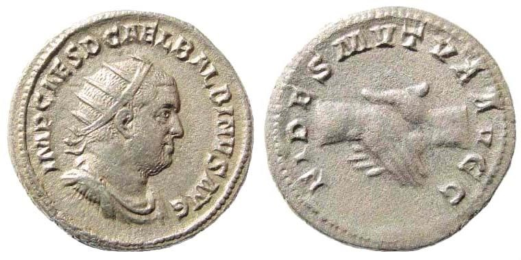 Ancient Coins - Balbinus. 238 AD. AR Antoninianus (4.24 gm, 21mm). Rome mint. RIC 11; Cohen 6