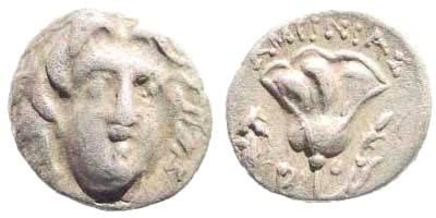 Ancient Coins - Karia, Islands off. Rhodes. Circa 230-205 BC. AR Hemidrachm (1.22 gm, 11mm). Ameinias magistrate. SNG Keckman 555
