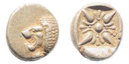 Ancient Coins - Ionia, Miletos. Late 6th- early 4th century BC. AR 1/12th Stater (1.12 gm, 10mm). SNG Helsinki II 277
