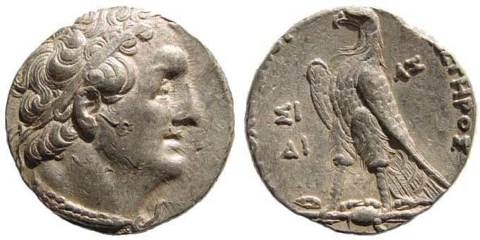 Ancient Coins - Ptolemy II Philadelphus, 285-246 BC. AR Tetradrachm (14.22 gm). Year 249/8 BC. Sidon mint. Noeske 105; Svoronos 751