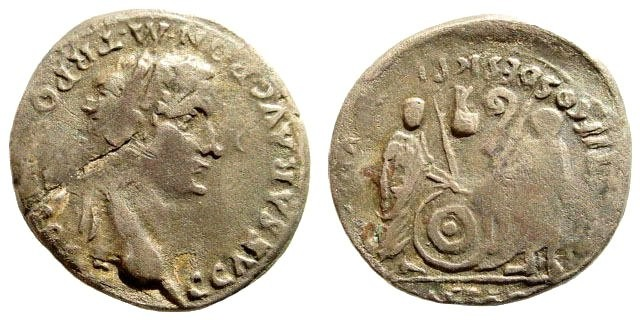 Ancient Coins - Caligula, 37-41 AD. Silver Plated Denarius (2.38 gm). Ancient forgery and hybrid combining Caligula obverse and Augustus reverse
