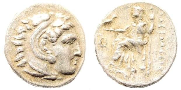 Ancient Coins - Macedonian Kingdom, Alexander III, 336-323 BC. AR Drachm (4.16 gm, 18mm). Lampsakos, 323-317 BC. Price 1365