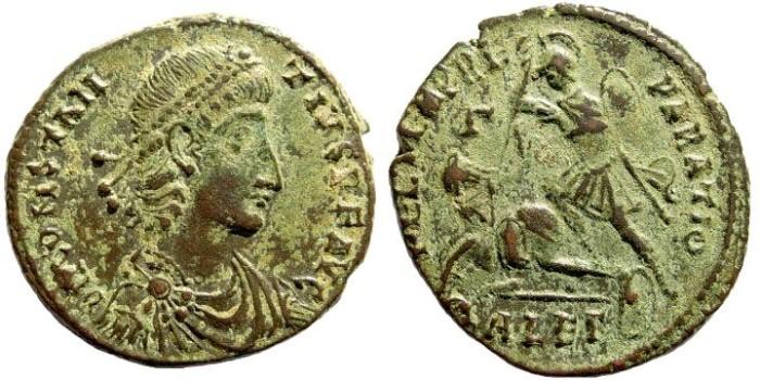 Ancient Coins - Constantius II. 324-361 AD. AE 1 (6.23 gm, 23mm). Alexandria mint, 351-354 AD. LRBC 2836