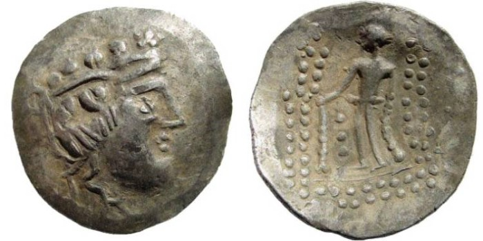 Ancient Coins - Celtic, Danube Region. Imitating Thasos. Circa 2nd-1st centuries BC. AR Tetradrachm 35mm (16.34 gm). Göbl, OTA Class V