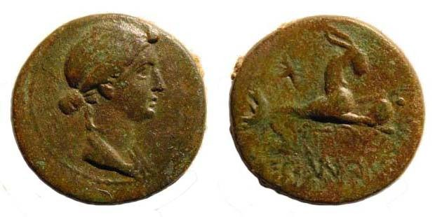 Ancient Coins - Cilicia, Augusta, Liva, wife of Augustus 27 BC-14 AD. AE 17.1 mm (3.63 gm.). SNG Levante-; SNG BN 1891; RPC I 4007