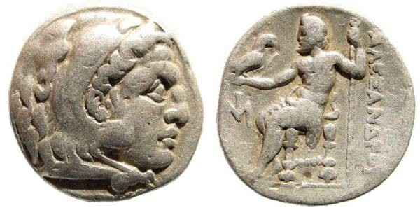 Ancient Coins - Macedonian Kings. Alexander III the Great. 336-323 BC. AR Drachm (4.05 gm, 20mm). Miletus mint. Struck circa 295-275 BC. Price 286