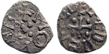 Ancient Coins - England, The Kingdom of Northumbria. Aethelred II, 1st Reign, 843/4-849/50. AE Styca (0.94 gm). Moneyer Monne. N.187; S. 865