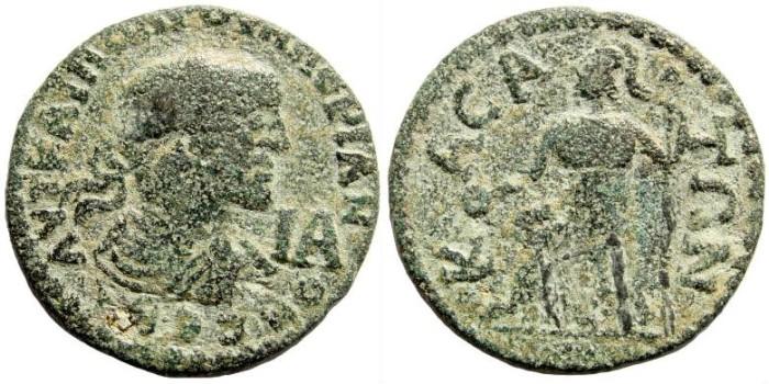 Ancient Coins - Cilicia, Casae. Valerian I, 253-260 AD. AE 27mm - 11 Assaria (12.83 gm). SNG Levante 312