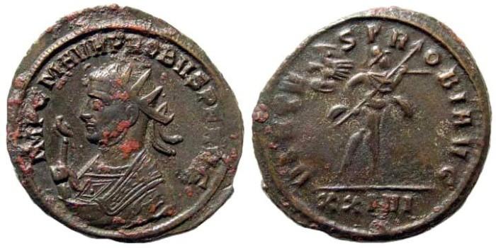 Ancient Coins - Probus, 276-282 AD. AE Antoninianus (3.60 gm, 23mm). Siscia mint. RIC V 810