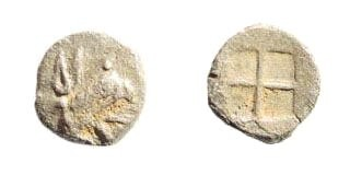 Ancient Coins - Ionia, Teos. Circa 475-450 BC. AR Tetartemorion (0.24 gm, 7mm). SNG Kayan 603