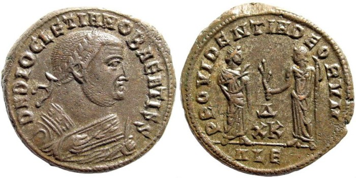Ancient Coins - Diocletian. 284-305 AD. AE Follis (7.54 gm, 24mm). Alexandria mint, Officina 4, Later 308. RIC 80