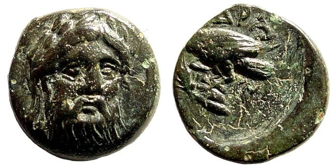 Ancient Coins - Mysia, Adramytion. 4th century BC. AE 12mm (1.54 gm). SNG France 3